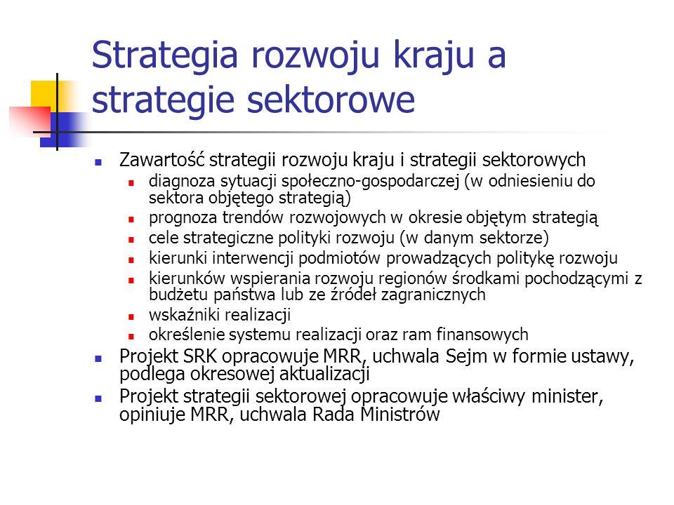 Strategia rozwoju kraju a strategie sektorowe Zawartość strategii rozwoju kraju i strategii sektorowych diagnoza sytuacji społeczno-gospodarczej (w odniesieniu do sektora objętego strategią) prognoza trendów rozwojowych w okresie objętym strategią cele strategiczne polityki rozwoju (w danym sektorze) kierunki interwencji podmiotów prowadzących politykę rozwoju kierunków wspierania rozwoju regionów środkami pochodzącymi z budżetu państwa lub ze źródeł zagranicznych wskaźniki realizacji określenie systemu realizacji oraz ram finansowych Projekt SRK opracowuje MRR, uchwala Sejm w formie ustawy, podlega okresowej aktualizacji Projekt strategii sektorowej opracowuje właściwy minister, opiniuje MRR, uchwala Rada Ministrów