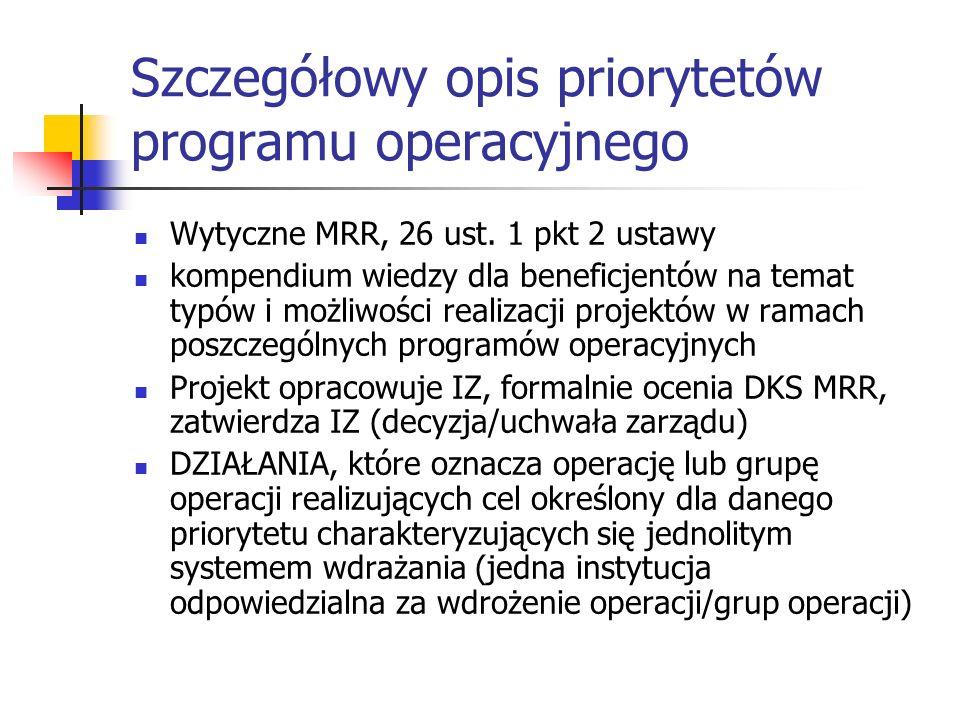 Szczegółowy opis priorytetów programu operacyjnego Wytyczne MRR, 26 ust. 1 pkt 2 ustawy kompendium wiedzy dla beneficjentów na temat typów i możliwośc