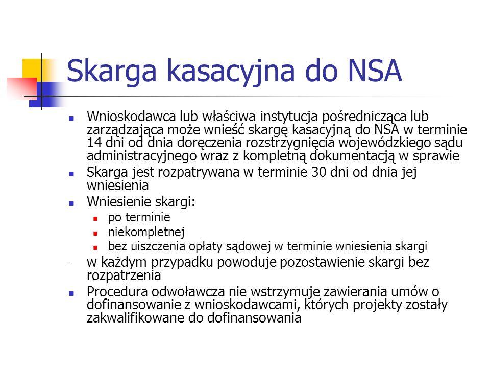 Skarga kasacyjna do NSA Wnioskodawca lub właściwa instytucja pośrednicząca lub zarządzająca może wnieść skargę kasacyjną do NSA w terminie 14 dni od dnia doręczenia rozstrzygnięcia wojewódzkiego sądu administracyjnego wraz z kompletną dokumentacją w sprawie Skarga jest rozpatrywana w terminie 30 dni od dnia jej wniesienia Wniesienie skargi: po terminie niekompletnej bez uiszczenia opłaty sądowej w terminie wniesienia skargi - w każdym przypadku powoduje pozostawienie skargi bez rozpatrzenia Procedura odwoławcza nie wstrzymuje zawierania umów o dofinansowanie z wnioskodawcami, których projekty zostały zakwalifikowane do dofinansowania