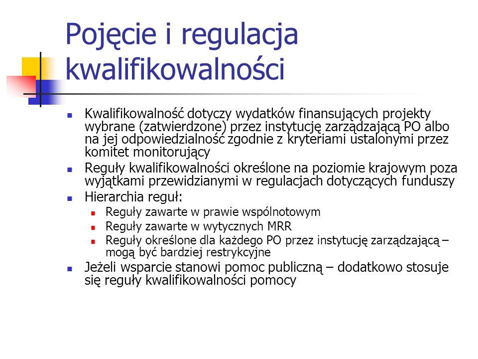 Pojęcie i regulacja kwalifikowalności Kwalifikowalność dotyczy wydatków finansujących projekty wybrane (zatwierdzone) przez instytucję zarządzającą PO
