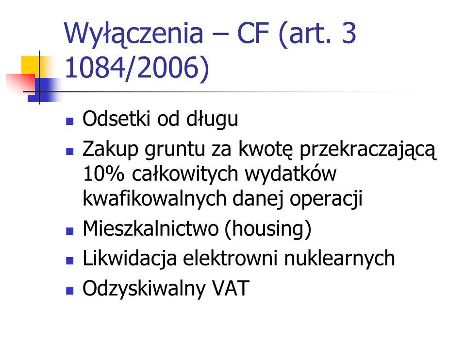 Wyłączenia – CF (art. 3 1084/2006) Odsetki od długu Zakup gruntu za kwotę przekraczającą 10% całkowitych wydatków kwafikowalnych danej operacji Mieszk