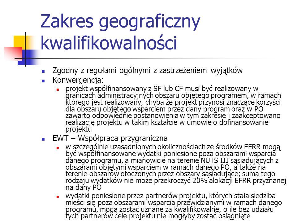 Zakres geograficzny kwalifikowalności Zgodny z regułami ogólnymi z zastrzeżeniem wyjątków Konwergencja: projekt współfinansowany z SF lub CF musi być