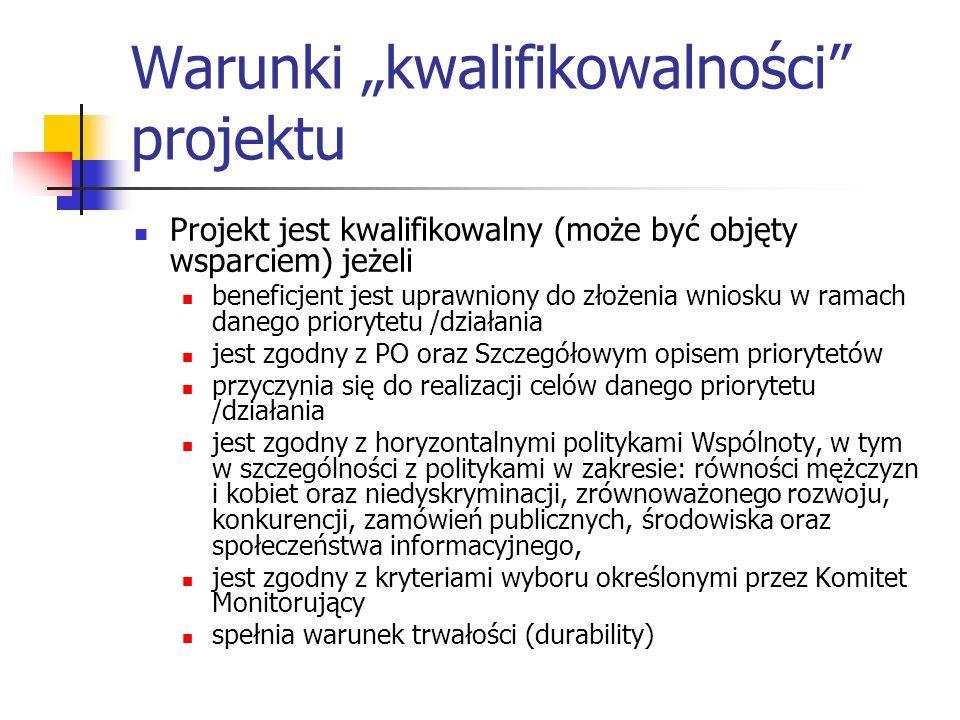 Warunki kwalifikowalności projektu Projekt jest kwalifikowalny (może być objęty wsparciem) jeżeli beneficjent jest uprawniony do złożenia wniosku w ra