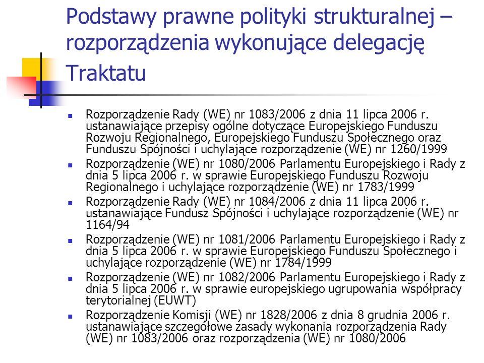 Podstawy prawne polityki strukturalnej – rozporządzenia wykonujące delegację Traktatu Rozporządzenie Rady (WE) nr 1083/2006 z dnia 11 lipca 2006 r. us