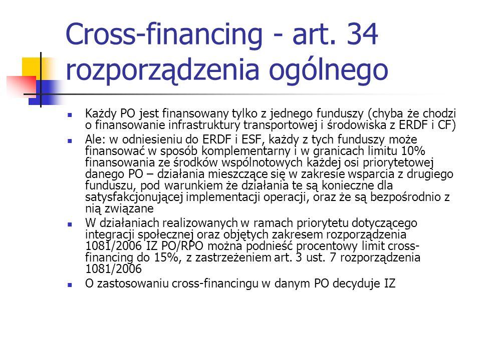 Cross-financing - art. 34 rozporządzenia ogólnego Każdy PO jest finansowany tylko z jednego funduszy (chyba że chodzi o finansowanie infrastruktury tr