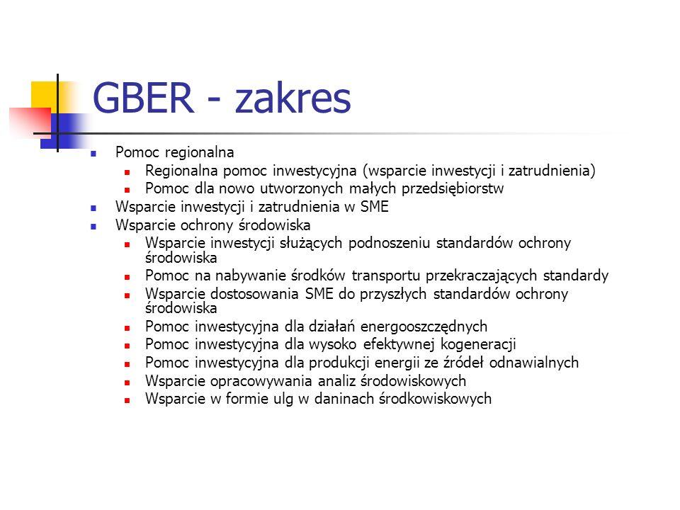 GBER - zakres Pomoc regionalna Regionalna pomoc inwestycyjna (wsparcie inwestycji i zatrudnienia) Pomoc dla nowo utworzonych małych przedsiębiorstw Ws