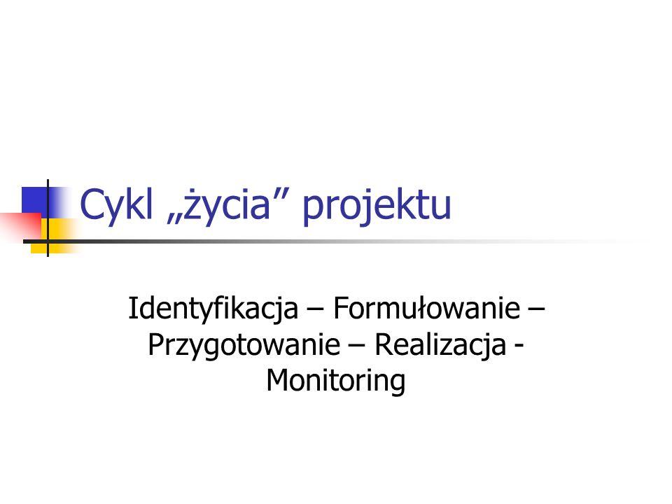 Cykl życia projektu Identyfikacja – Formułowanie – Przygotowanie – Realizacja - Monitoring