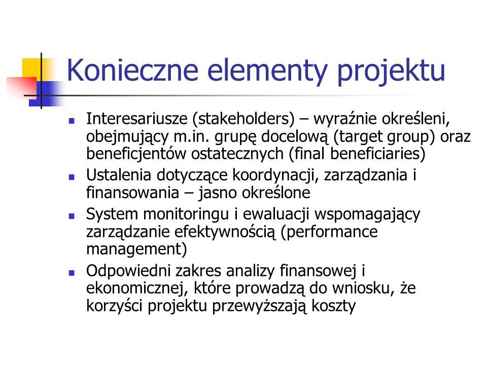Konieczne elementy projektu Interesariusze (stakeholders) – wyraźnie określeni, obejmujący m.in. grupę docelową (target group) oraz beneficjentów osta