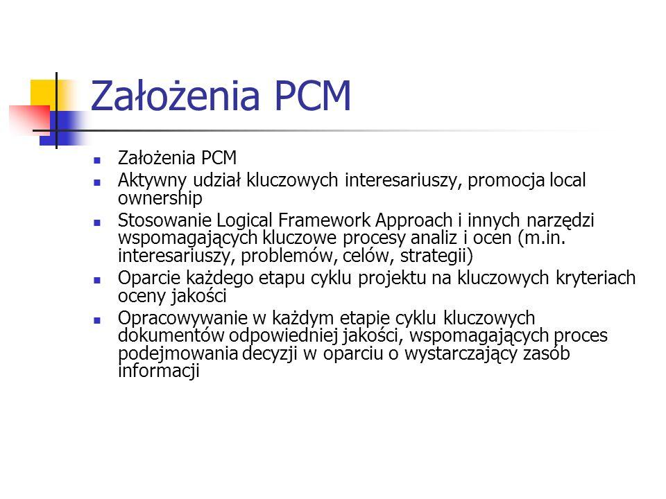 Założenia PCM Aktywny udział kluczowych interesariuszy, promocja local ownership Stosowanie Logical Framework Approach i innych narzędzi wspomagających kluczowe procesy analiz i ocen (m.in.