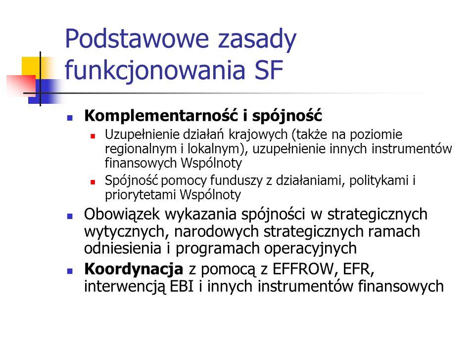 Podstawowe zasady funkcjonowania SF Komplementarność i spójność Uzupełnienie działań krajowych (także na poziomie regionalnym i lokalnym), uzupełnienie innych instrumentów finansowych Wspólnoty Spójność pomocy funduszy z działaniami, politykami i priorytetami Wspólnoty Obowiązek wykazania spójności w strategicznych wytycznych, narodowych strategicznych ramach odniesienia i programach operacyjnych Koordynacja z pomocą z EFFROW, EFR, interwencją EBI i innych instrumentów finansowych