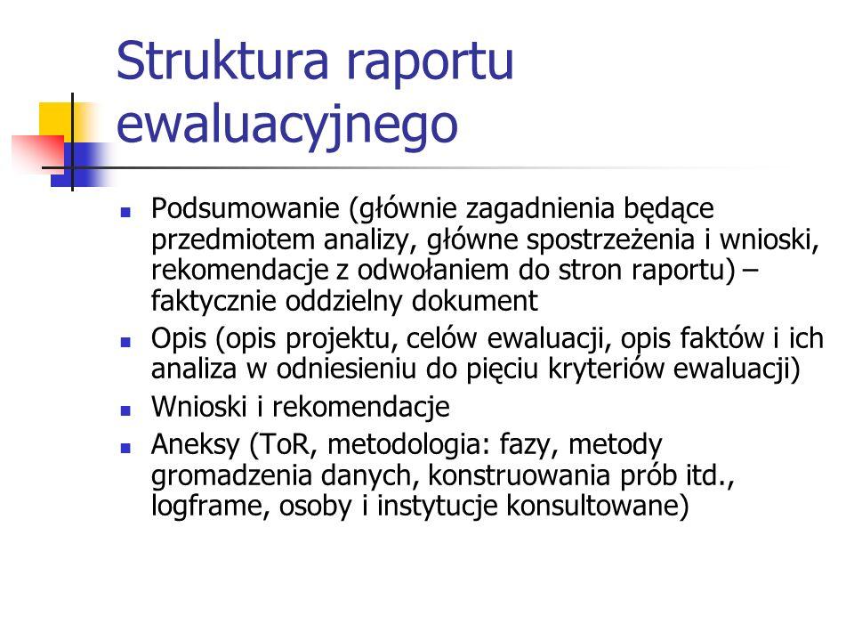Struktura raportu ewaluacyjnego Podsumowanie (głównie zagadnienia będące przedmiotem analizy, główne spostrzeżenia i wnioski, rekomendacje z odwołanie