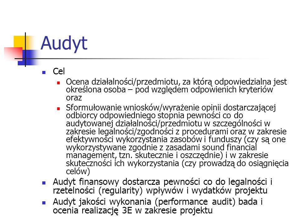 Audyt Cel Ocena działalności/przedmiotu, za którą odpowiedzialna jest określona osoba – pod względem odpowienich kryteriów oraz Sformułowanie wniosków/wyrażenie opinii dostarczającej odbiorcy odpowiedniego stopnia pewności co do audytowanej działalności/przedmiotu w szczególności w zakresie legalności/zgodności z procedurami oraz w zakresie efektywności wykorzystania zasobów i funduszy (czy są one wykorzystywane zgodnie z zasadami sound financial management, tzn.