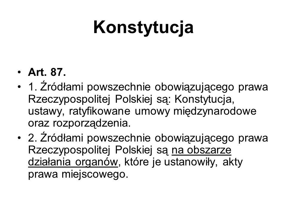 Konstytucja Art. 87. 1. Źródłami powszechnie obowiązującego prawa Rzeczypospolitej Polskiej są: Konstytucja, ustawy, ratyfikowane umowy międzynarodowe