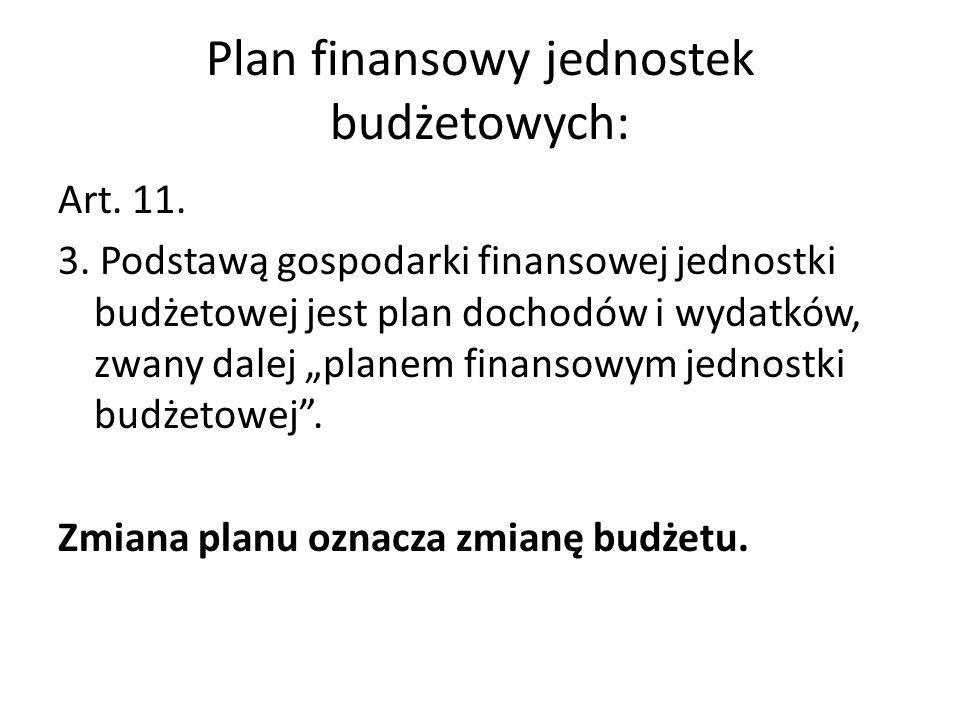 Plan finansowy jednostek budżetowych: Art. 11. 3. Podstawą gospodarki finansowej jednostki budżetowej jest plan dochodów i wydatków, zwany dalej plane