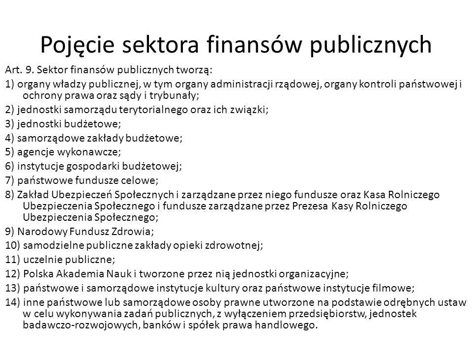 Pojęcie sektora finansów publicznych Art. 9. Sektor finansów publicznych tworzą: 1) organy władzy publicznej, w tym organy administracji rządowej, org