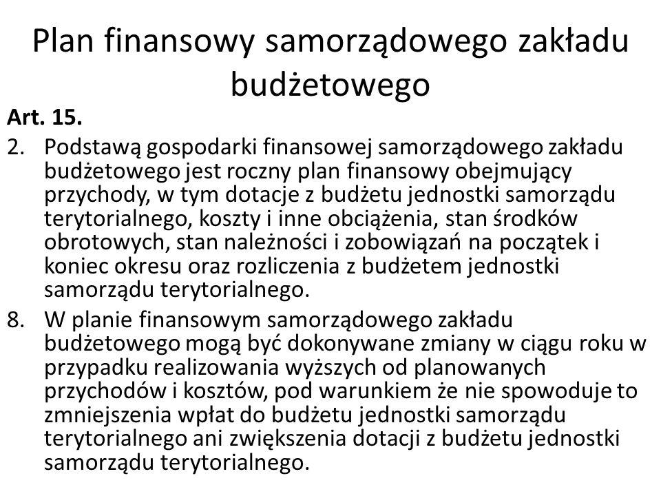Plan finansowy samorządowego zakładu budżetowego Art. 15. 2.Podstawą gospodarki finansowej samorządowego zakładu budżetowego jest roczny plan finansow