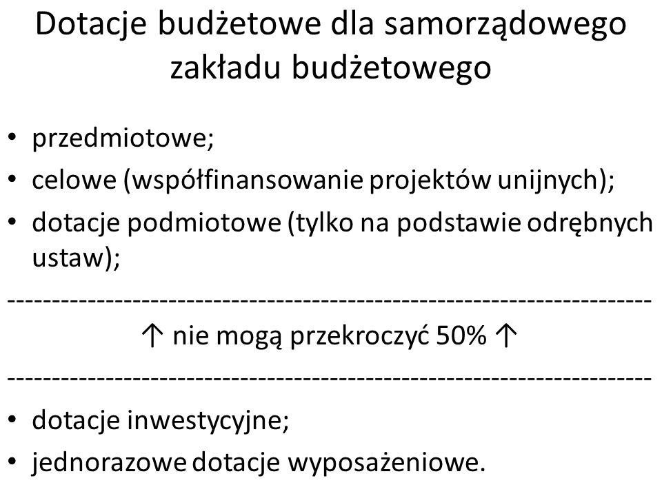 Dotacje budżetowe dla samorządowego zakładu budżetowego przedmiotowe; celowe (współfinansowanie projektów unijnych); dotacje podmiotowe (tylko na pods