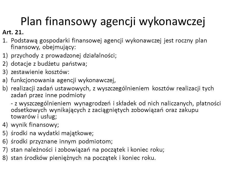 Plan finansowy agencji wykonawczej Art. 21. 1.Podstawą gospodarki finansowej agencji wykonawczej jest roczny plan finansowy, obejmujący: 1)przychody z