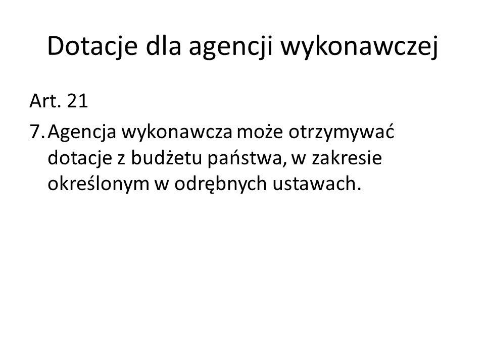 Dotacje dla agencji wykonawczej Art. 21 7.Agencja wykonawcza może otrzymywać dotacje z budżetu państwa, w zakresie określonym w odrębnych ustawach.