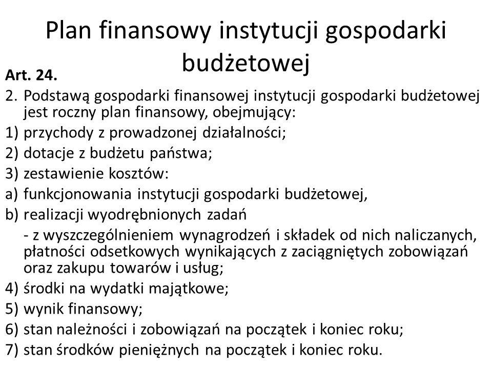 Plan finansowy instytucji gospodarki budżetowej Art. 24. 2.Podstawą gospodarki finansowej instytucji gospodarki budżetowej jest roczny plan finansowy,