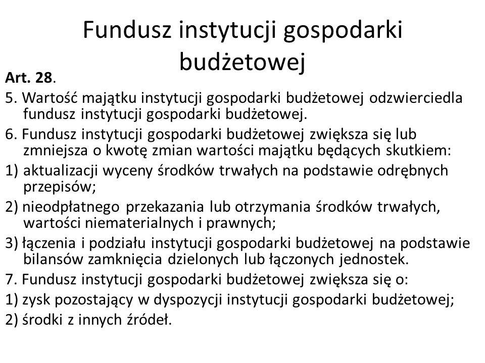 Fundusz instytucji gospodarki budżetowej Art. 28. 5. Wartość majątku instytucji gospodarki budżetowej odzwierciedla fundusz instytucji gospodarki budż
