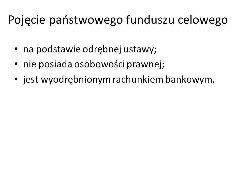 Pojęcie państwowego funduszu celowego na podstawie odrębnej ustawy; nie posiada osobowości prawnej; jest wyodrębnionym rachunkiem bankowym.