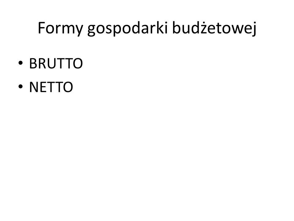 Formy gospodarki budżetowej BRUTTO NETTO