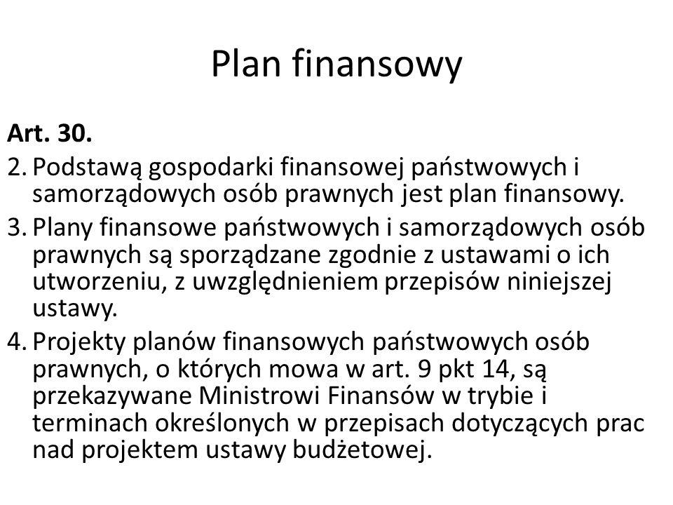 Plan finansowy Art. 30. 2.Podstawą gospodarki finansowej państwowych i samorządowych osób prawnych jest plan finansowy. 3.Plany finansowe państwowych