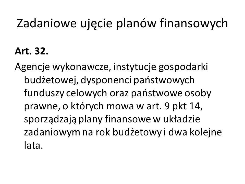 Zadaniowe ujęcie planów finansowych Art. 32. Agencje wykonawcze, instytucje gospodarki budżetowej, dysponenci państwowych funduszy celowych oraz państ