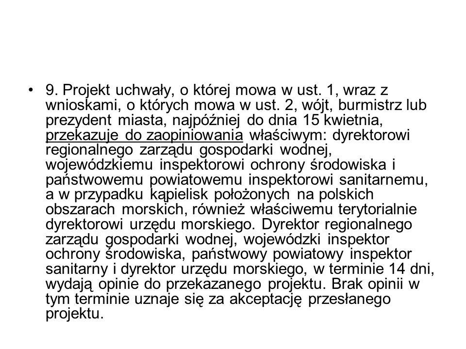 9. Projekt uchwały, o której mowa w ust. 1, wraz z wnioskami, o których mowa w ust.
