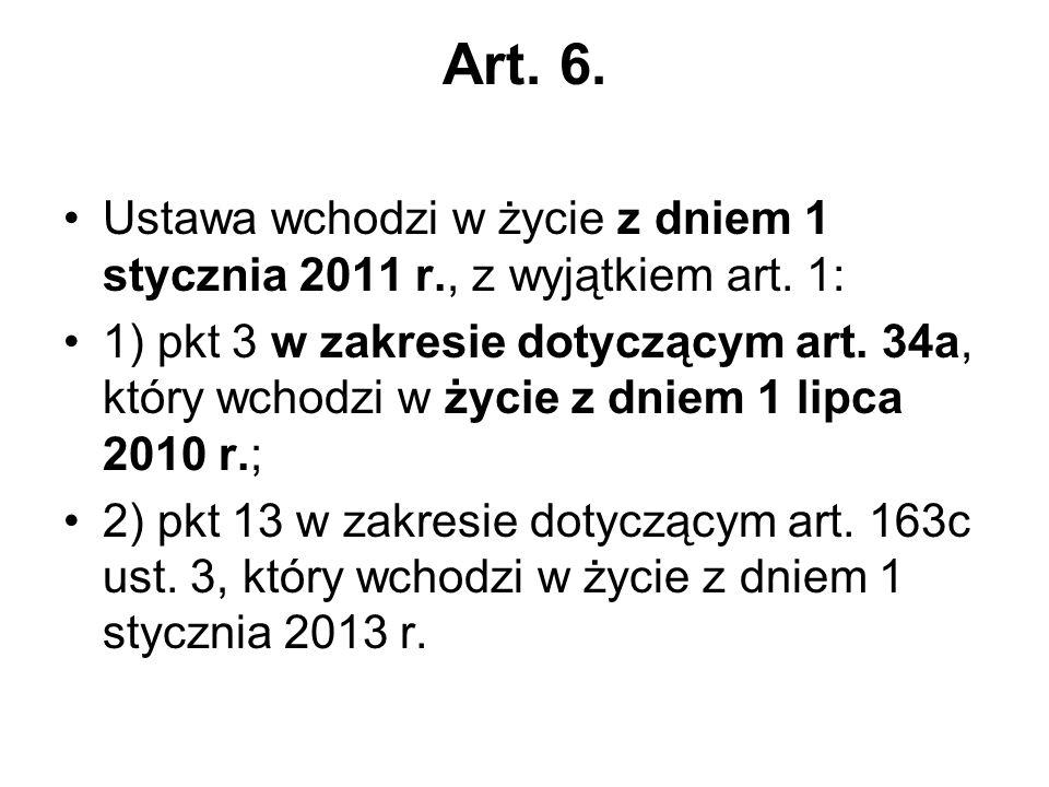 Art. 6. Ustawa wchodzi w życie z dniem 1 stycznia 2011 r., z wyjątkiem art.