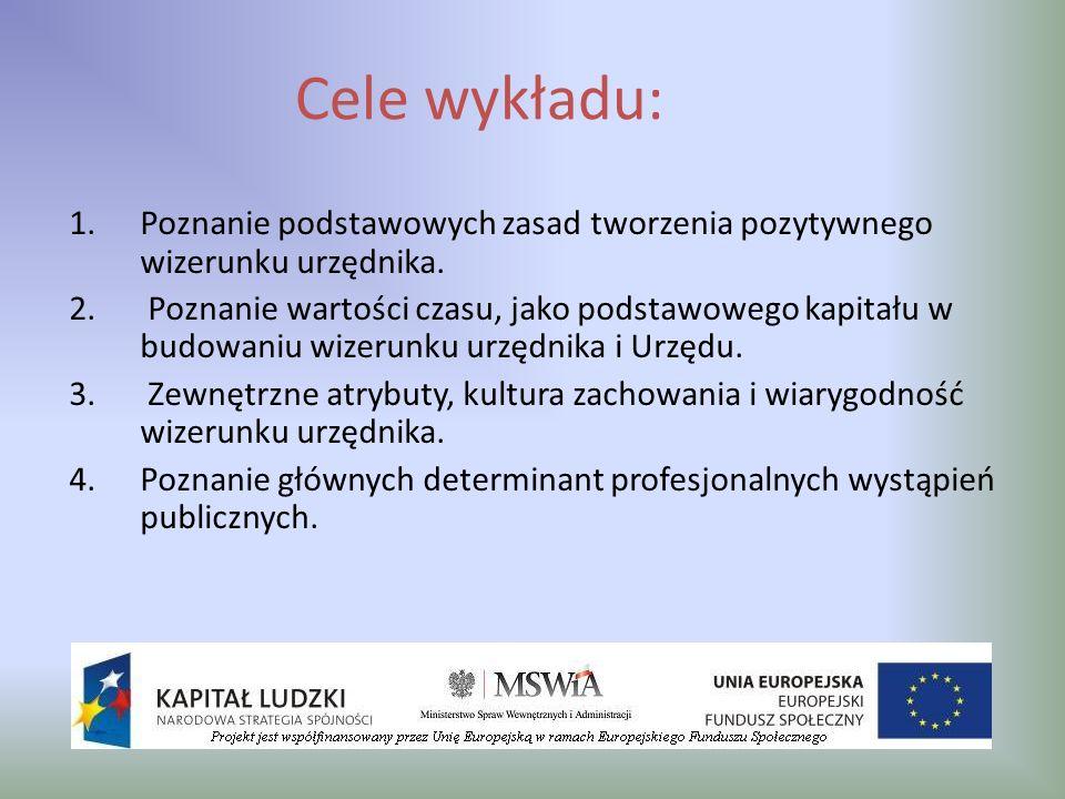 Cele wykładu: 1.Poznanie podstawowych zasad tworzenia pozytywnego wizerunku urzędnika. 2. Poznanie wartości czasu, jako podstawowego kapitału w budowa
