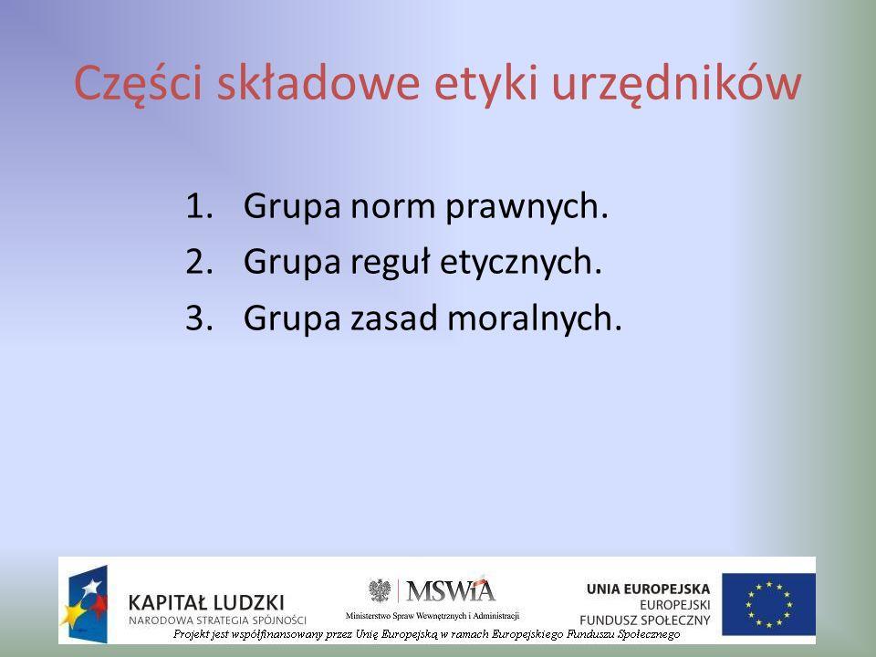 Części składowe etyki urzędników 1.Grupa norm prawnych. 2.Grupa reguł etycznych. 3.Grupa zasad moralnych.