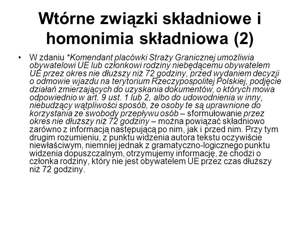 Wtórne związki składniowe i homonimia składniowa (2) W zdaniu *Komendant placówki Straży Granicznej umożliwia obywatelowi UE lub członkowi rodziny nie