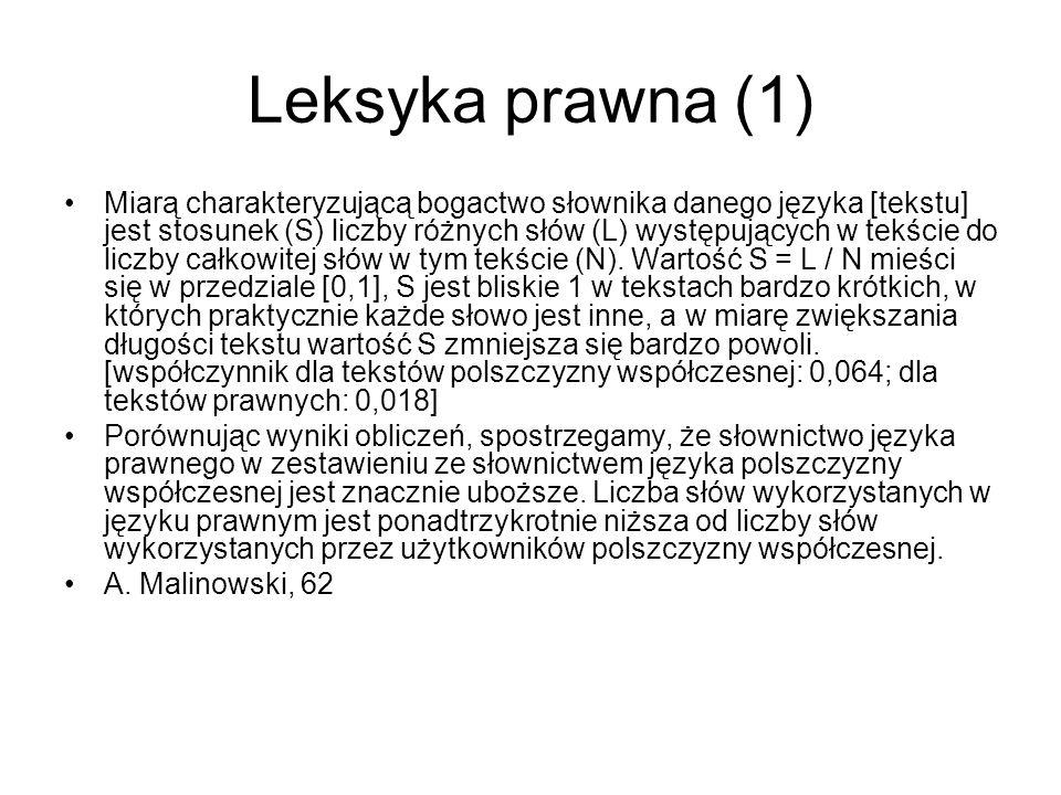 Leksyka prawna (2) W języku polszczyzny współczesnej występuje 8,6% słów użytych jeden raz, prawie sześciokrotnie więcej w porównaniu do języka prawnego, gdzie takich słów jest tylko 1,5%.