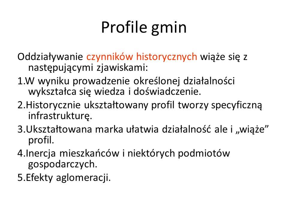 Profile gmin Oddziaływanie czynników historycznych wiąże się z następującymi zjawiskami: 1.W wyniku prowadzenie określonej działalności wykształca się