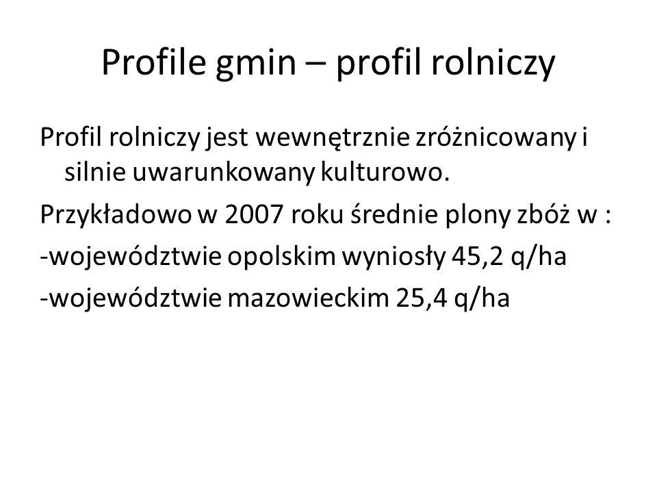 Profile gmin – profil rolniczy Profil rolniczy jest wewnętrznie zróżnicowany i silnie uwarunkowany kulturowo. Przykładowo w 2007 roku średnie plony zb