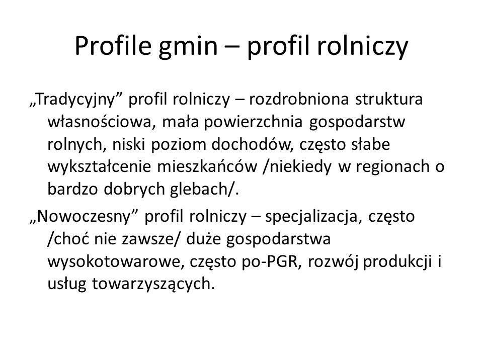 Profile gmin – profil rolniczy Tradycyjny profil rolniczy – rozdrobniona struktura własnościowa, mała powierzchnia gospodarstw rolnych, niski poziom d