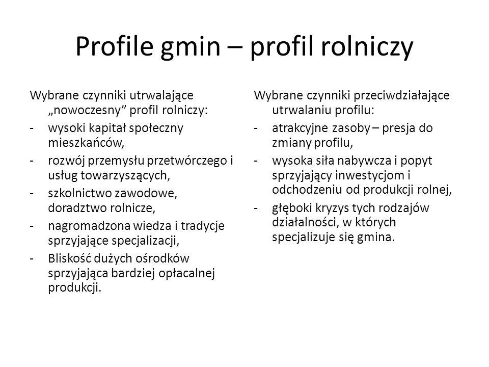 Profile gmin – profil rolniczy Wybrane czynniki utrwalające nowoczesny profil rolniczy: -wysoki kapitał społeczny mieszkańców, -rozwój przemysłu przet