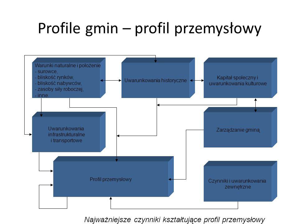 Profile gmin – profil przemysłowy Warunki naturalne i położenie - surowce, - bliskość rynków, - bliskość nabywców, - zasoby siły roboczej, - inne. Uwa