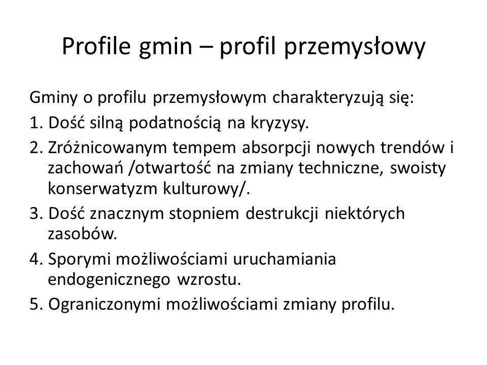Profile gmin – profil przemysłowy Gminy o profilu przemysłowym charakteryzują się: 1. Dość silną podatnością na kryzysy. 2. Zróżnicowanym tempem absor
