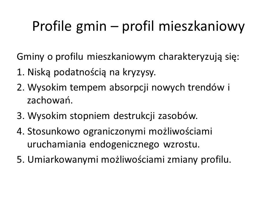 Profile gmin – profil mieszkaniowy Gminy o profilu mieszkaniowym charakteryzują się: 1. Niską podatnością na kryzysy. 2. Wysokim tempem absorpcji nowy