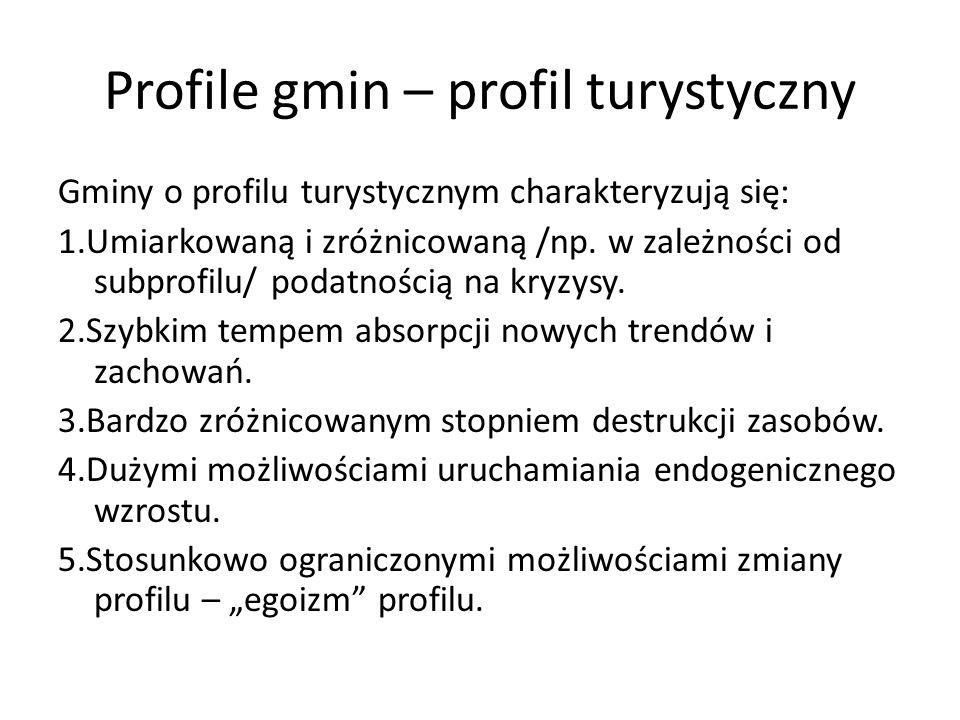 Profile gmin – profil turystyczny Gminy o profilu turystycznym charakteryzują się: 1.Umiarkowaną i zróżnicowaną /np. w zależności od subprofilu/ podat