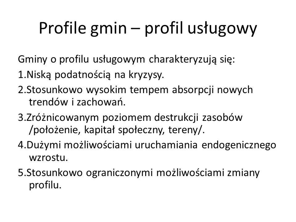 Profile gmin – profil usługowy Gminy o profilu usługowym charakteryzują się: 1.Niską podatnością na kryzysy. 2.Stosunkowo wysokim tempem absorpcji now