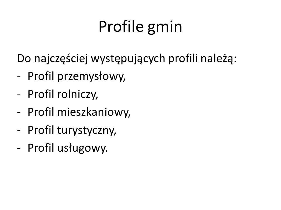 Profile gmin Do najczęściej występujących profili należą: -Profil przemysłowy, -Profil rolniczy, -Profil mieszkaniowy, -Profil turystyczny, -Profil us