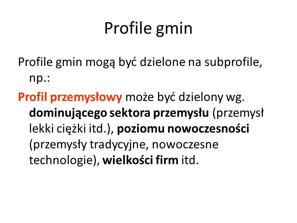 Profile gmin Profile gmin mogą być dzielone na subprofile, np.: Profil przemysłowy może być dzielony wg. dominującego sektora przemysłu (przemysł lekk