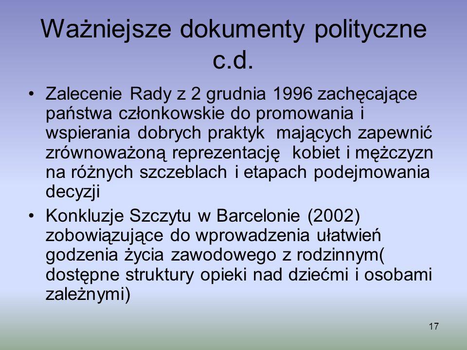 17 Ważniejsze dokumenty polityczne c.d. Zalecenie Rady z 2 grudnia 1996 zachęcające państwa członkowskie do promowania i wspierania dobrych praktyk ma
