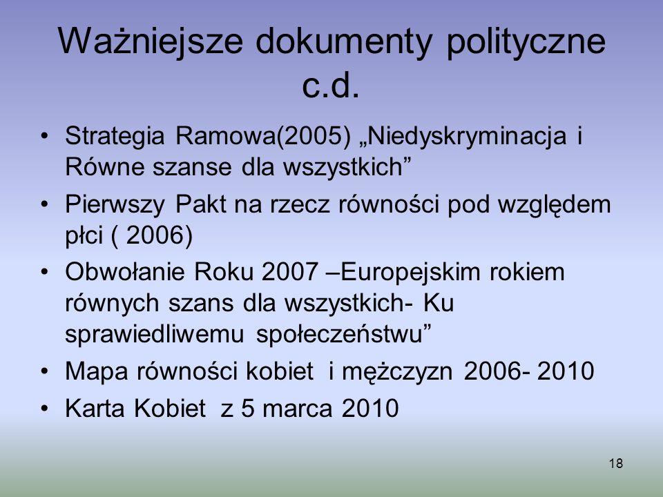 18 Ważniejsze dokumenty polityczne c.d. Strategia Ramowa(2005) Niedyskryminacja i Równe szanse dla wszystkich Pierwszy Pakt na rzecz równości pod wzgl
