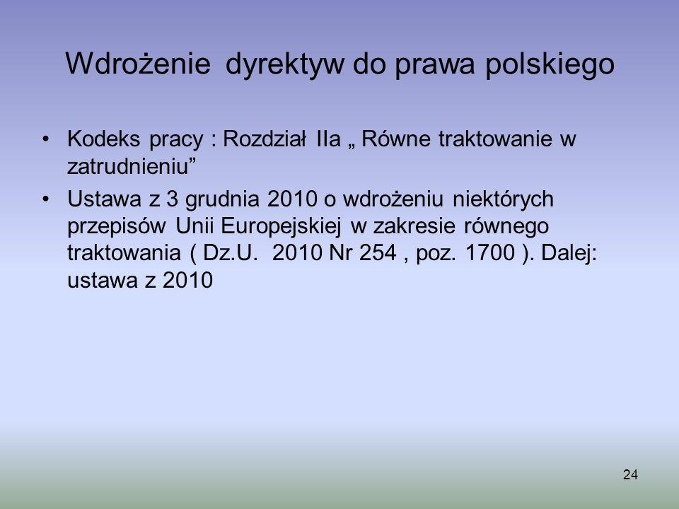 Wdrożenie dyrektyw do prawa polskiego Kodeks pracy : Rozdział IIa Równe traktowanie w zatrudnieniu Ustawa z 3 grudnia 2010 o wdrożeniu niektórych prze