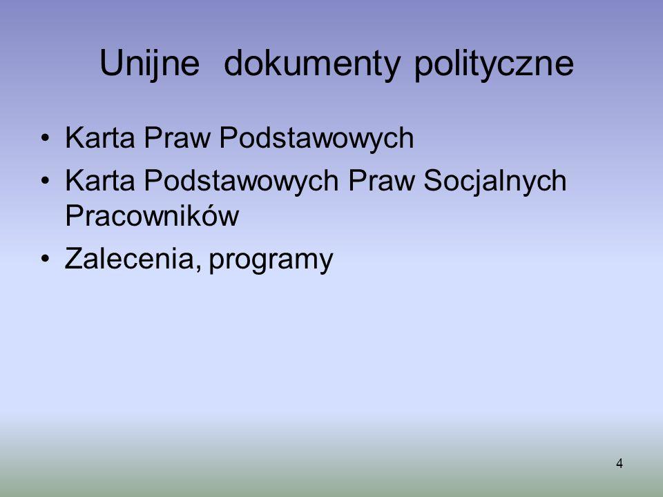 4 Unijne dokumenty polityczne Karta Praw Podstawowych Karta Podstawowych Praw Socjalnych Pracowników Zalecenia, programy